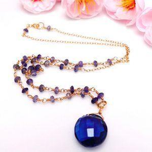 Blue kyanite coin rosary rondelle gold necklace
